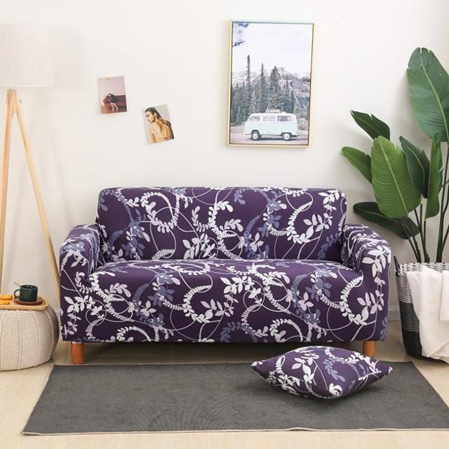 paarse bloemen bedrukte bankhoes stretch bankhoes bankhoezen voor 1 ~ 4 kussen bank met een gratis kussensloop