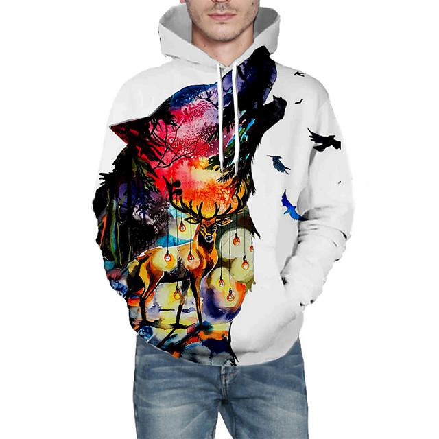 Voor heren Dagelijks Sweatshirt met capuchon Grafisch dier Capuchon Basic Hoodies Sweatshirts Lange mouw Wit