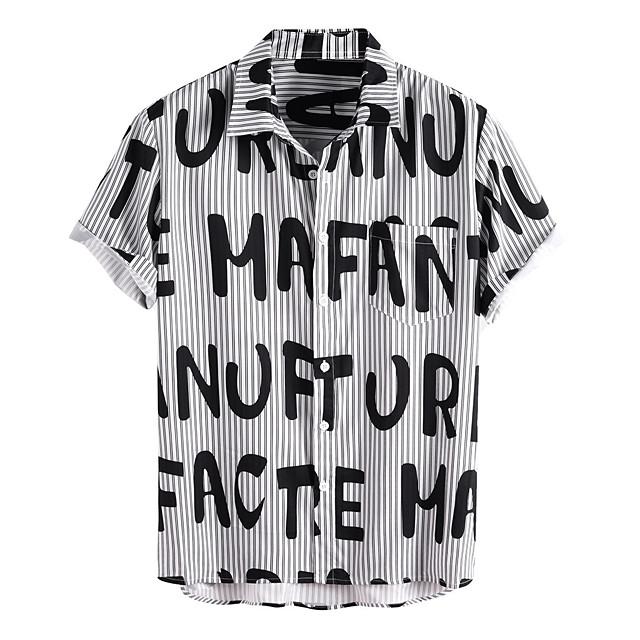 Voor heren Overhemd Andere prints Grafisch Letter Korte mouw Dagelijks Tops Basic Wit