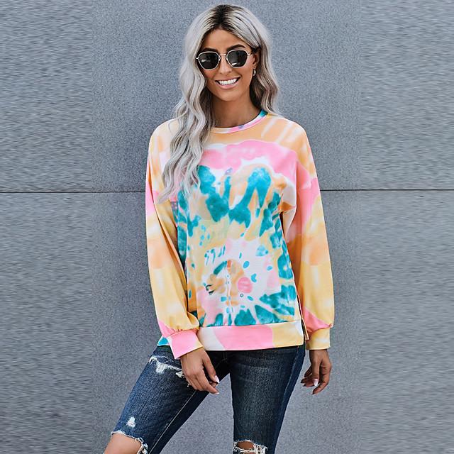 Dames Pullover Sweatshirt Kleurenblok Dagelijks Andere prints Informeel Hoodies Sweatshirts Ruimvallend Regenboog