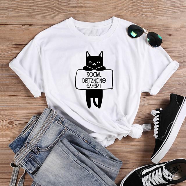 Dames T-shirt Kat Grafische prints Letter Opdruk Ronde hals Tops 100% katoen Basic Basis Top Wit Zwart Paars