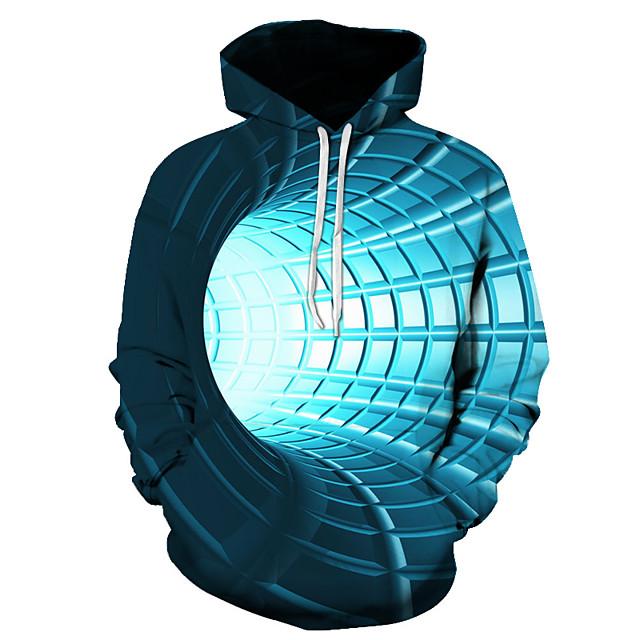Voor heren Trui met capuchon Grafisch 3D Dagelijks 3D-afdrukken Basic Hoodies Sweatshirts blauw Paars Rood