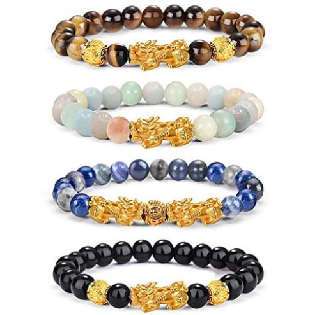 feng shui pixiu bonne chance bracelets pour hommes femmes pierre précieuse naturelle énergie de guérison pi yao dragon charme perlé bracelet attacher richesse argent bijoux 8mm