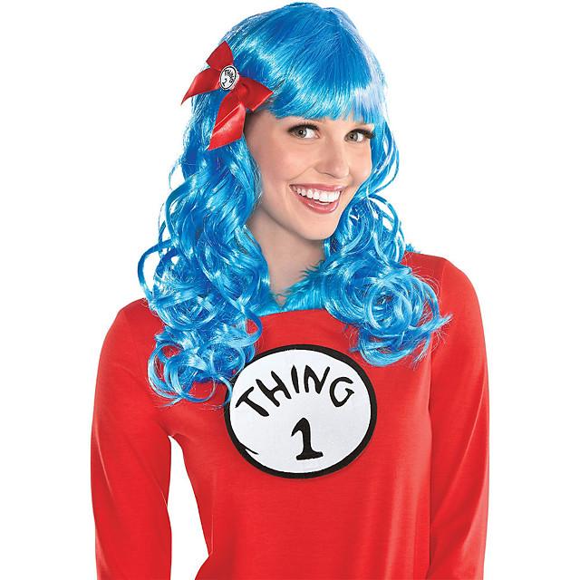 Kostuum pruiken Dr. Seuss Golvend Losse krul Strakke pony Pruik Gemiddelde Lengte Blauw Synthetisch haar Dames Anime Cosplay Creatief Blauw