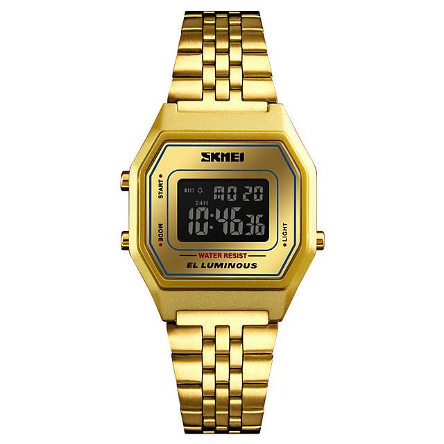 نسائي ساعة رياضية ساعة رقمية ساعة ذهبية رقمي كاجوال مقاوم للماء رقمي الذهب / أبيض أزرق ذهبي / سنة واحدة / ستانلس ستيل / ياباني / المنبه / رزنامه