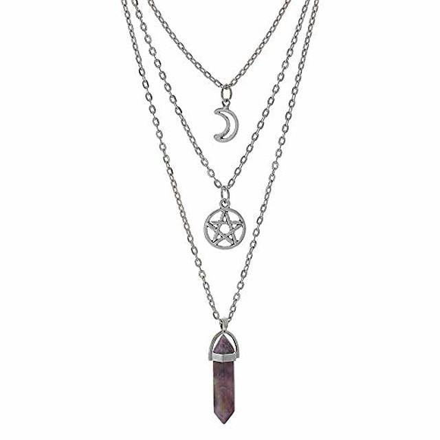 maan pentagram ketting pentagram chakra charme hanger meerlaagse legering ketting choker ketting set gothic sieraden (a-paars amethist-3 stuks)