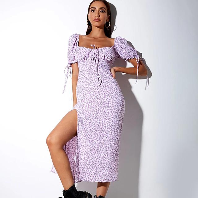 Dames A-lijn jurk Midi-jurk Korte mouw Print Split Opdruk Herfst Zomer Sexy 2021 blauw Paars S M L