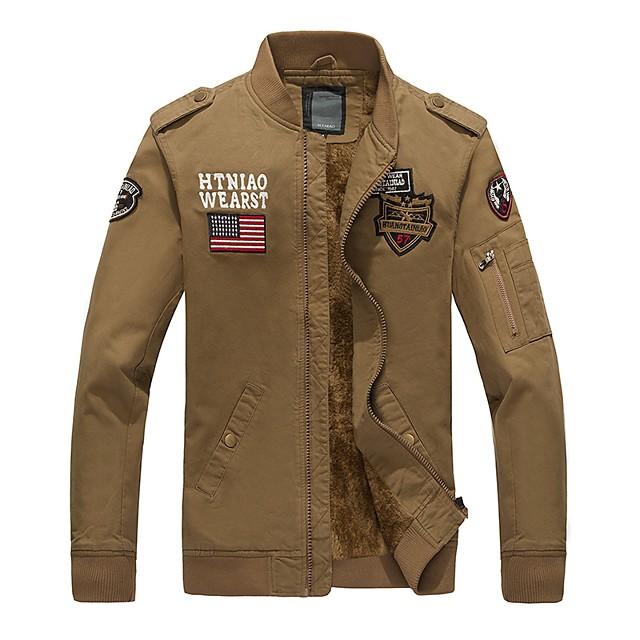 Voor heren Opstaand Jack Normaal Letter Dagelijks Basic Lange mouw Zwart Leger Groen Khaki M L XL XXL / Militair
