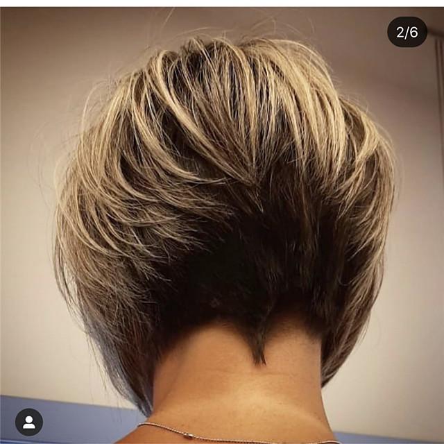 Perruque Synthétique Droit Bob Coupe Carré Coupe Lutin Coupe Asymétrique Perruque Court Noir / Brun Cheveux Synthétiques 14 pouce Femme Design à la mode Adorable Ligne de Cheveux Naturelle Noir Marron