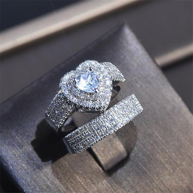 טבעת זירקונה מעוקבת קלאסי לבן נחושת יהלום מדומה לב אופנתי 1set 7 8 9 / בגדי ריקוד נשים