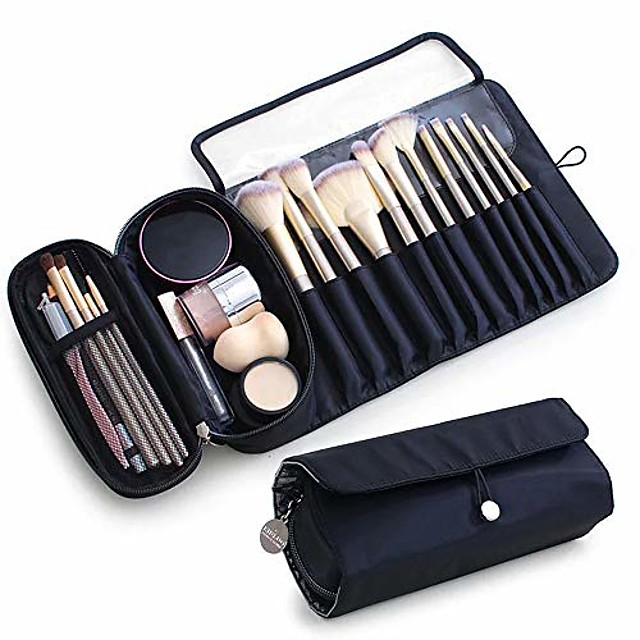 draagbare make-up kwast organizer make-up kwast houder voor reizen kan 20+ borstels bevatten make-up tas make-up kwast oprolbare etui voor vrouw.