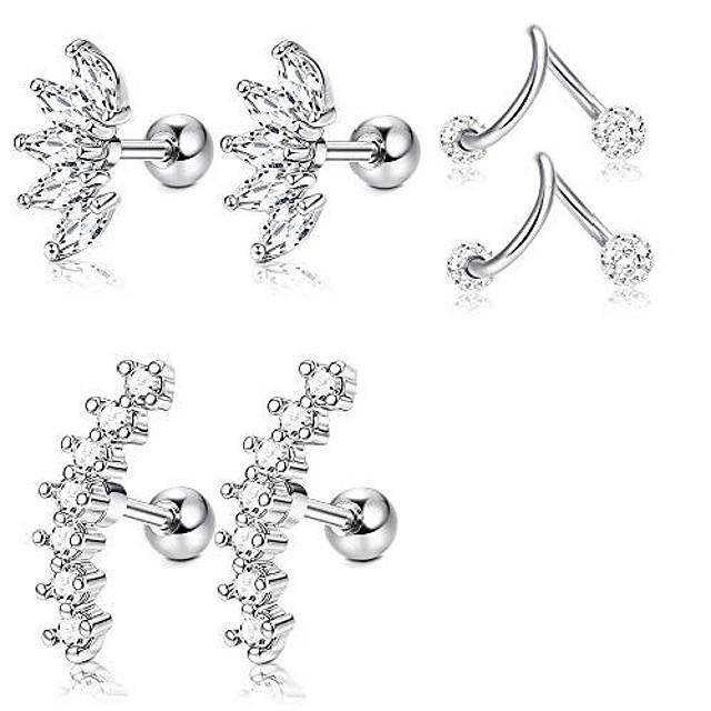 3 paar rvs zilveren oor kraakbeen oorbellen voor vrouwen meisjes tragus helix oorbel leuke conch platte achterkant piercing sieraden 16g