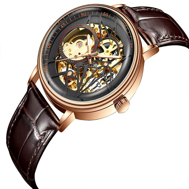 BIDEN Voor heren mechanische horloges Automatisch opwindmechanisme Vintagestijl Klassiek Waterbestendig Analoog Black + Gloden Zwart blauw / Twee jaar / Leer