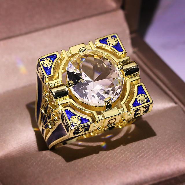 خاتم مكعب زركونيا قديم ذهبي نحاس سلسلة الطوطم عبارة المتضخم 1PC 6 7 8 9 10 / الزوجين