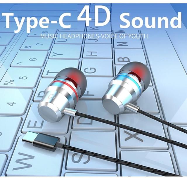sport oortelefoon wired bass usb type-c headset oordopjes met microfoon handsfree type c muziek oortelefoon voor xiaomi samsung huawei