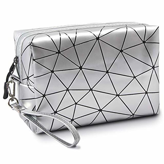 tašky na líčení, malé cestovní make-upové tašky pro ženy a dívky, přenosná vodotěsná kosmetická taška na organizér s uchem, stříbrná