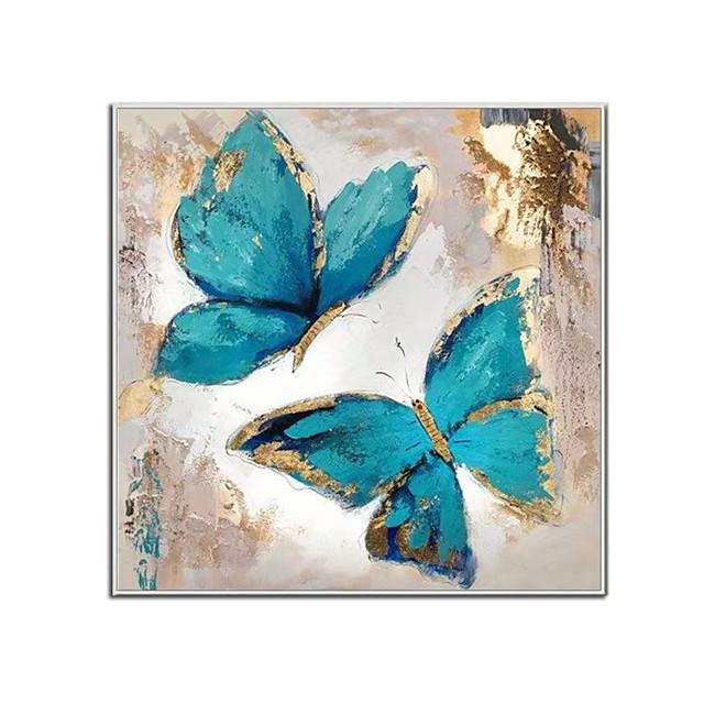 100% handgeschilderde hedendaagse blauwe vlinder olieverfschilderijen moderne decoratieve kunstwerken op opgerolde canvas kunst aan de muur klaar om op te hangen voor huisdecoratie muur decor