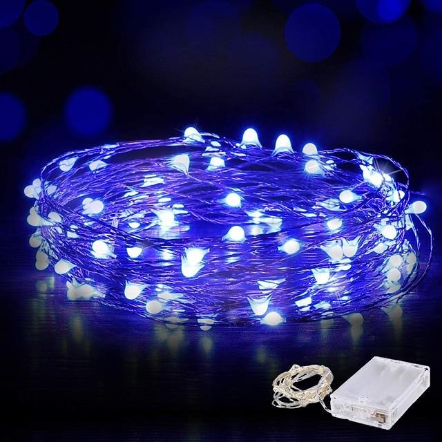 10m guirlandes lumineuses 100 LED fil étanche guirlande lumineuse guirlande lumineuse 4pcs 2pcs 1pc pour noël mariage maison vacances fête chambre décoration extérieure blanc chaud blanc bleu