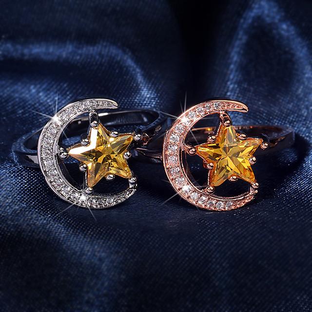 Ring Zirkonia meetkundig Goud Zilver Messinki Ster Crescent Moon Stijlvol modieus 1pc 6 7 8 9 10 / Dames