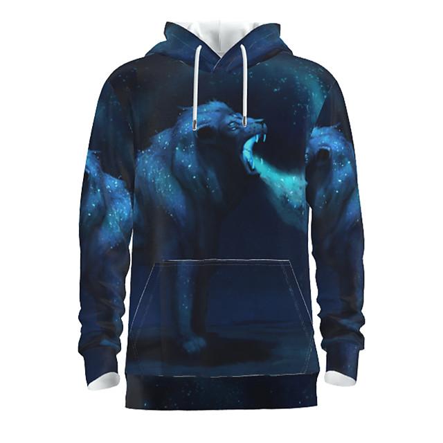 Voor heren Dagelijks Sweatshirt met capuchon Grafisch dier Capuchon Basic Hoodies Sweatshirts Lange mouw Marineblauw