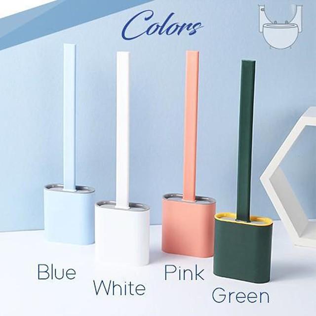 scopino per WC in silicone con base porta testina in gomma accessori per il bagno da parete spazzola per pulizia a pavimento