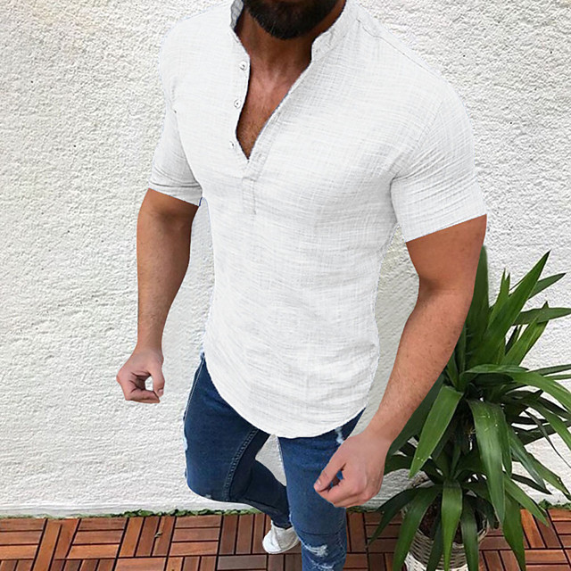 Men's Shirt non-printing Solid Color Short Sleeve Holiday Tops Light Blue White Black
