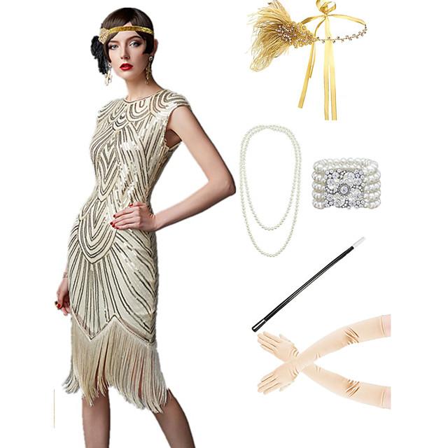 The Great Gatsby 1920s Vintage sukienka na wakacje Sukienka w stylu lat 20-tych Stroje Bal maskowy Sukienka na studniówkę Damskie Frędzel Kostium Złoto-żółty / Złota / Srebrny + szary Postarzane