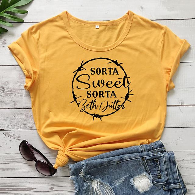 Dames T-shirt Letter Opdruk Ronde hals Tops 100% katoen Basic Basis Top Wit Paars Rood