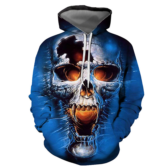 Men's Pullover Hoodie Sweatshirt Graphic Skull Hooded Halloween Daily Going out 3D Print Basic Casual Hoodies Sweatshirts  Long Sleeve Blue