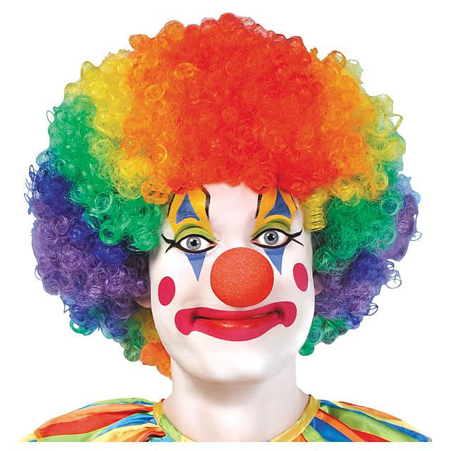 Kostuum pruiken Clown Jumbo Clown Gekruld Pixie-kapsel Pruik Kort Regenboog Synthetisch haar Dames Anime Cosplay Creatief Gemengde Kleur