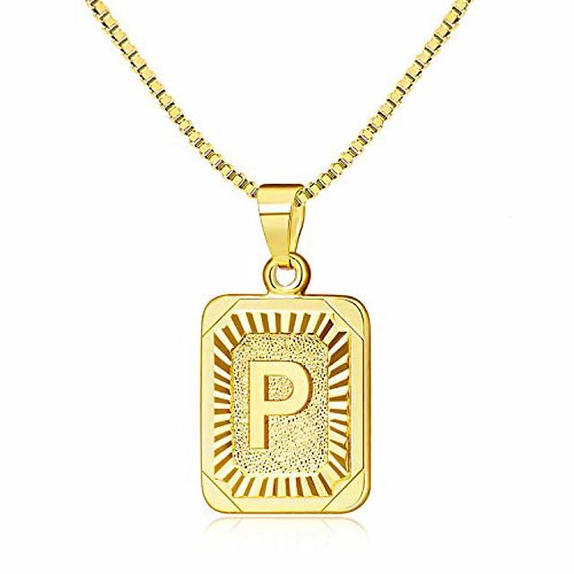 gouden initialen kettingen voor vrouwen, letter ketting voor vrouwen, rechthoekige ketting met letters p monogram 18k vergulde alhpabets p initiële dames hanger ketting