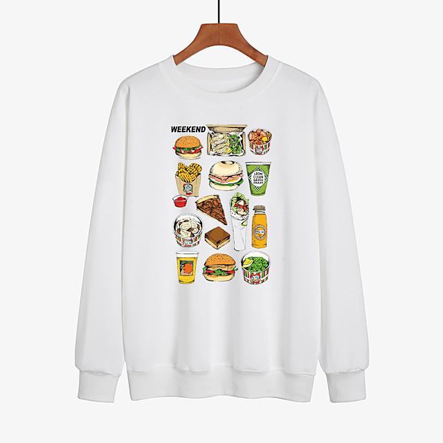Dames Pullover Sweatshirt Grafisch Dagelijks Andere prints Informeel Hoodies Sweatshirts Ruimvallend Wit Zwart Rood