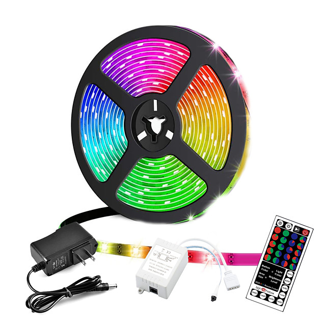 ZDM® 5m Bare De Becuri LED Rigide Fâșii RGB 300 LED-uri 2835 SMD 8mm 1 44 Controlul telecomenzii 1 cabluri DC 1set RGB Ce poate fi Tăiat Petrecere Decorativ 12 V / Auto- Adeziv