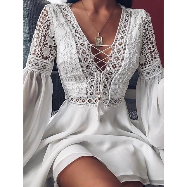 Per donna Abito linea A Mini abito corto Bianco Rosso Nero Manica lunga Tinta unica Con balze Collage Primavera Estate A V caldo Sensuale Chiffon Largo 2021 S M L XL