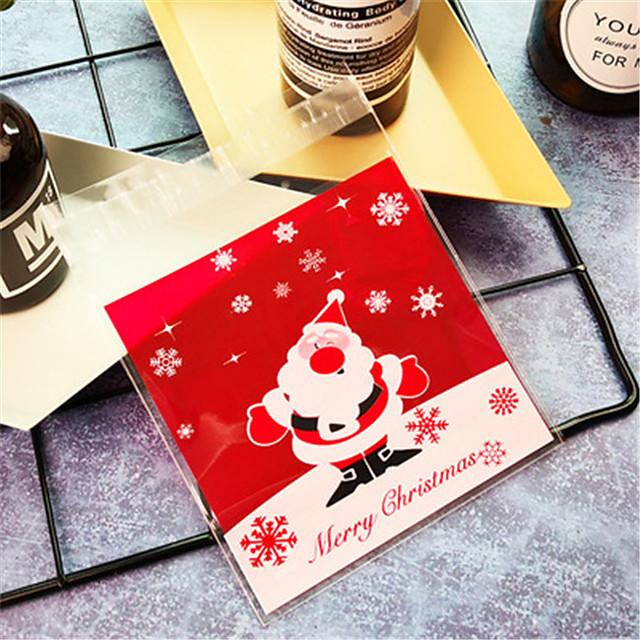 Jucării de Crăciun Cadouri de Crăciun Consumabile pentru Petrecerea de Crăciun Pungi de cadou Temă Basme policarbonat Plastic moale 100 pcs Adulți Copii Consumabile pentru petrecerea de Crăciun