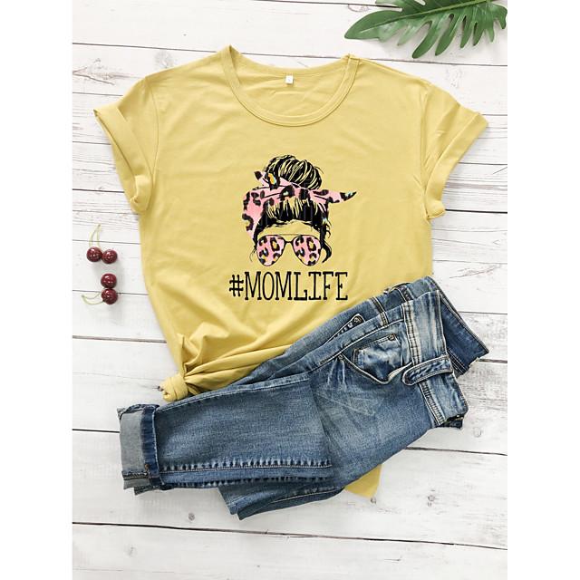 Dames T-shirt Luipaard Grafische prints Jachtluipaardprint Opdruk Ronde hals Tops 100% katoen Basic Basis Top Wit Paars Rood