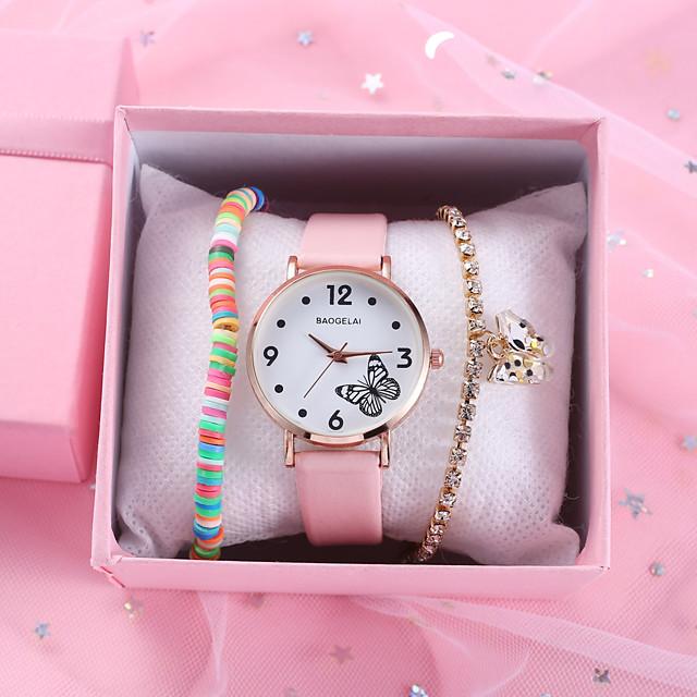 Dames Quartz Horloge Kwarts Vlinder Style Stijlvol Informeel Chronograaf Analoog Wit Zwart Blozend Roze / PU-leer