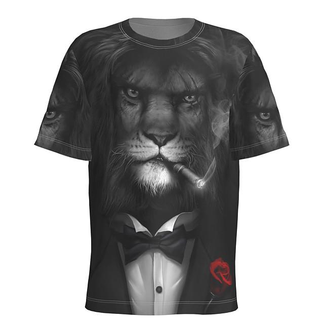 Voor heren T-shirt 3D-afdrukken Grafisch dier Korte mouw Dagelijks Tops Basic Zwart