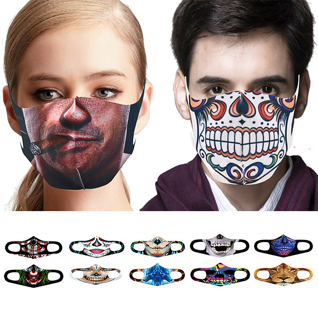 10 stks gezichtsbedekking gezichtsmasker stofdicht casual dagelijks gebreid stofdicht halloween spoof skelet 3D-afdrukken