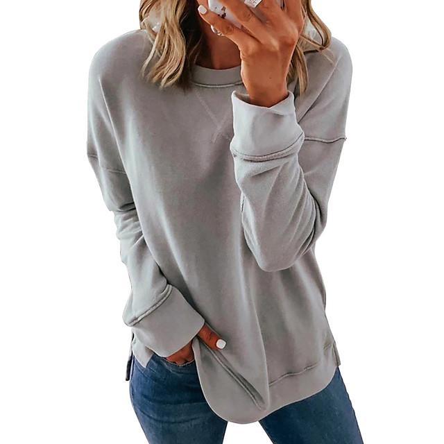 Dames Pullover Sweatshirt Effen Kleur Effen Dagelijks niet-afdrukken Basic Hoodies Sweatshirts Ruimvallend Blozend Roze Khaki Grijs