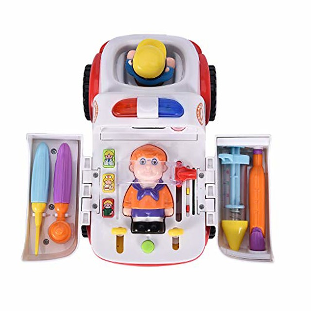 kids pretend play set multi-function electric ambulance toy car with light and sound doctor kit accessories (multicolor)