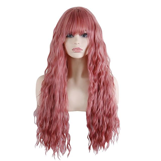 Synthetische pruiken Losse krul Strakke pony Met pony Pruik Lang Roze / Grijs Synthetisch haar 30 inch(es) Dames Modieus Design Feest voortreffelijk Roze