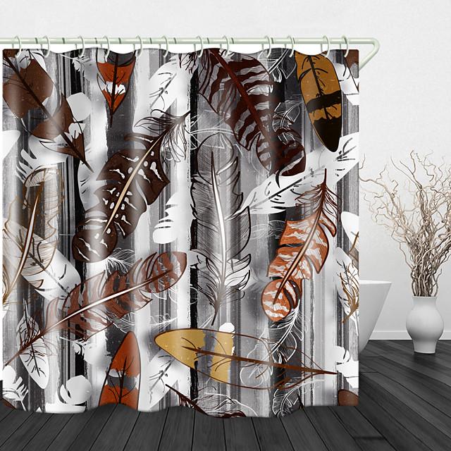 ganzenveren print waterdichte stof douchegordijn voor badkamer interieur bedekt bad gordijnen voering omvat met haken