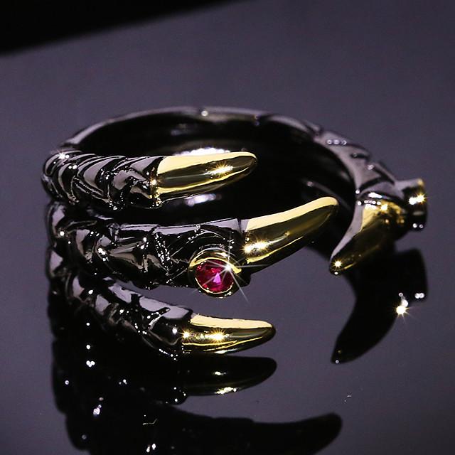 خاتم قابل للتعديل مكعب زركونيا حجران أسود نحاس عصفور أنيمي عتيق 1PC قابل للتعديل / رجالي