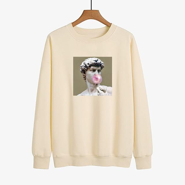 Dames Pullover Sweatshirt Grafisch Dagelijks Andere prints Basic Informeel Hoodies Sweatshirts Ruimvallend Wit Zwart Rood