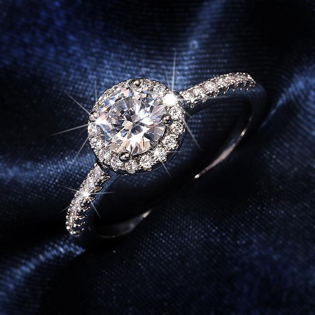 Inel Zirconiu Cubic Geometric Argintiu Alamă Prețios Elegant Dulce 1 buc 6 7 8 9 10 / Pentru femei