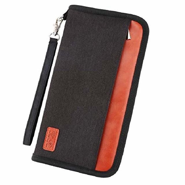 reseportfamiljfamiljinnehavare, RFID-blockerande vattentätt dokumentfodral för pass, ID-kort, kreditkort, flygbiljetter, pengar och andra resetillbehör (svart)