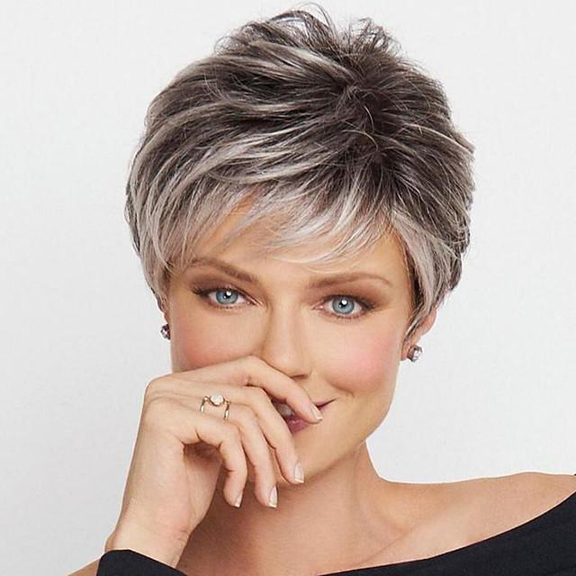 Perruque Synthétique Bouclé Boucle rebondissante Coupe Lutin Perruque Court Blond clair A1 A2 A3 A4 Cheveux Synthétiques Femme Design à la mode Doux Facile à transporter Blond
