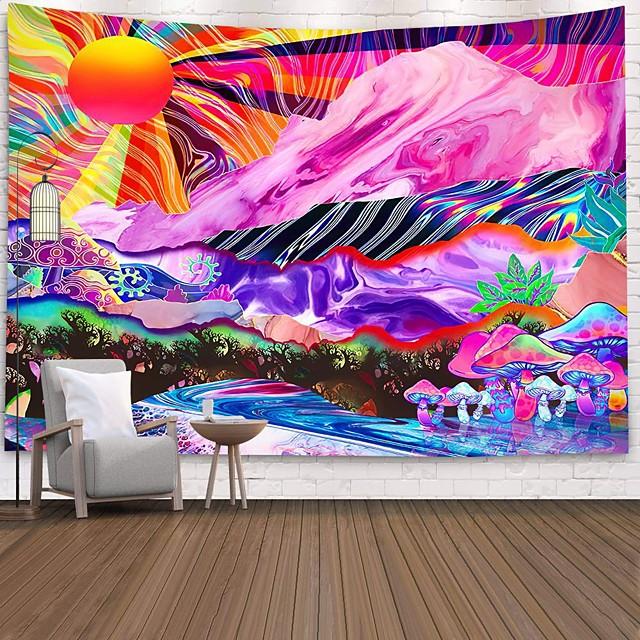 tapisserie murale art décor couverture rideau pique-nique nappe suspendu maison chambre salon dortoir décoration polyester coloré soleil montagne champignon vues