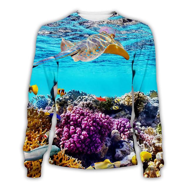 Voor heren Pullover Sweatshirt Grafisch Ronde hals Dagelijks Weekend 3D-afdrukken Basic Informeel Hoodies Sweatshirts Lange mouw Regenboog